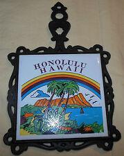 Vtg 70's Honolulu Hawaii Rainbow Scene Cast Iron Ceramic Tile Hanging Potholder