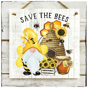 Wooden Hanging sign/picture Save the Bees/Bee Gnome Honeycomb Honey Sunflower
