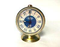Vintage Soviet Alarm Clock, Mechanical Clock Slava, USSR Watch. Blue