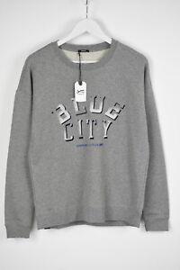 DENHAM BLUE CITY SWEAT PRS Men's LARGE Letter Print Sweatshirt Jumper 9767*mm