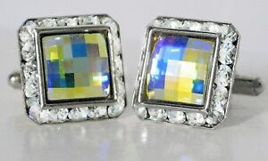 AURORA BOREALIS SQUARE CHESSBOARD CUT CUFFLINKS  MADE WITH SWAROVSKI CRYSTALS