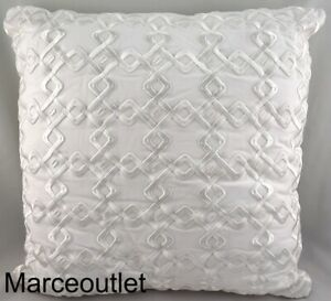 """Hotel Collection Linen Embroidered 22"""" Square Decorative Pillow White"""