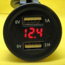 USB Dual 5V Power Charger Socket Outlet Red Voltmeter 12V 24 DC Voltage Car Van
