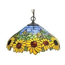 Meyda Lighting 16'W Wild Sunflower Pendant, Purple/Blue Ia 59 Amber - 119560