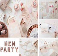 Team Bride To Be Hen Party Night Sashes Rose Gold Pink Decorations Tableware