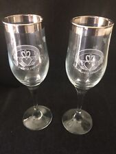 Claddagh Wedding Champagne Toasting Flutes Etched Irish Silver Edge Wine Glass