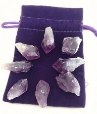 8 AMETHYST POINTS CRYSTAL HEALING GRID INSTRUCTIONS POUCH STRESS BUSTER REIKI