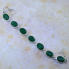 """BEAUTIFUL GENUINE EARTH MINED FACETED EMERALD 925 SILVER TENNIS BRACELET 71/4-8"""""""