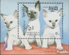 Cambodge Bloc 158 (complète edition) neuf avec gomme originale 1988 Chats