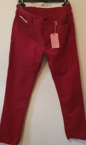 """Vans Off The Wall Red Jean Chino Style Trousers in Size 34"""" W BNWT"""