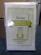 No-Iron 400 Thread Count Wrinkle-Free Cotton 2 Standard/Queen White Pillowcases