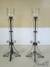 29218E: Pair Scrolled Iron Base Candelabras w. Etched Glass Shades