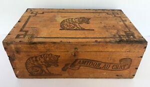 Boite publicitaire 1920 Amidon LE CHAT Hoffman, caisse de chargement en bois