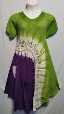 Women Clothing Tie Dye Sundress Summer Beach Sun Dress Green Purple Free Size