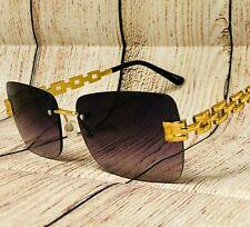 Hip Hop Gold Frame Retro Vintage Hip Hop Mens Black Lens Sunglasses Migos 2021