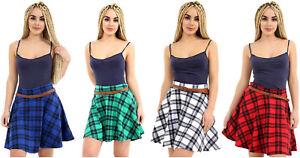 Ladies Women Plus Size Tartan Check Pleated Flared Belted Mini Skater Skirt 8-22
