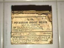 Antique Potassium Iodide Merck Dovetail Wooden Box w/ Lid