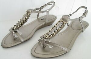 CLARKS SIZE 5 WOMENS BRONZE GOLD STRAPPY ANKLE STRAPS SANDALS WEDGES SHOES HEEL