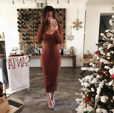 Fashion Women's V Neck Long Pencil Winter Knitted Sweater Bodycon Party Dress US