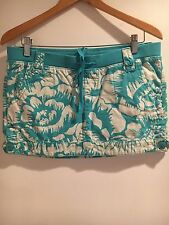 MOSSIMO SUPLY & CO. Women's Mini Skirt Sz 7 Floral Turquoise/white