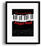Piano Man by Billy Joel Song Lyrics Music Quote Art Canvas Plaque Wall Decor