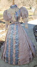 ANTIQUE DRESS 1885 FAILLE BUSTLE 1-PC GOWN TRAIN LABEL MUSEUM DE-ACCESSIONED