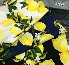 Aus Stock PER METER 148cm Wide Lemon on White 100% Cotton Poplin Fabric