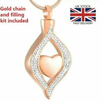 Rose Gold Teardrop Heart Cremation Urn Pendant Ashes Necklace Funeral Memorial