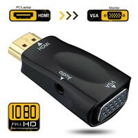 Black Ultra-Mini HD 1080P HDMI to VGA Adapter +3.5MM Audio Cable For Laptop&HDTV
