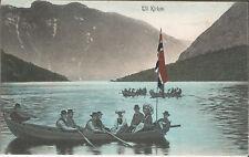 Norwegen, Norge, Til Kirken, Robåt med flagg, Ruderboot mit Fahne, Ak um 1910