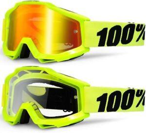 100% ACCURI GOGGLES FLUO YELLOW MIRROR & CLEAR LENS MOTOCROSS ENDURO BMX CHEAP