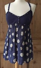 Ladies White Stuff Linen Vest Top. Navy. Spot. Summer. Size 12. New with Tags.