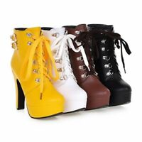 Women Platforms Lace Up High Heels Zip Military Combat Biker Ankle Boots New