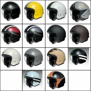 Shoei J.O. Motorcycle Bike Shock Absorbent Shell Double D Ring Open Face Helmet
