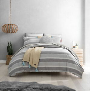 UGG Australia Oxford Stripe Cotton Duvet Cover - Gray Multi - KING, QUEEN