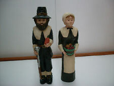 PILGRIM FIGURE SET FOR THANKSGIVING~NEW~2 PC CERAMIC FALL HOLIDAY TABLE DECO