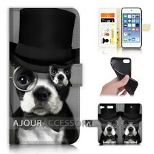 ( For iPod Touch 6 ) Wallet Flip Case Cover AJ40183 Dog in Hat