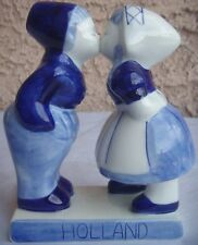 "Holland Souvenir Delft's Blauw Little Boy and Girl Kissing Figure 5.25"" Tall"