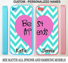 CUSTOMIZE Mint Chevron Pink Heart BFF Best Friends 2 CASES FOR iPhone 6S 5S 5C 4