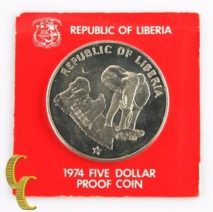 1974 Liberia $5 Dollar Coin (Proof, PF) 0.900 Silver Bull Elephant Five KM-29