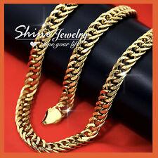 18K GOLD GF DIAMOND CUT CUBAN CURB RINGS LINKS CHAIN MENS SOLID NECKLACE 45-60CM