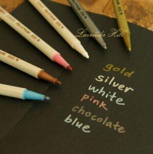 Metallic Marker Christmas Card Pen Pens Gold Silver White Pink Blue Scrapbook
