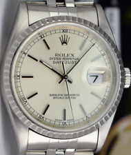 ROLEX - 36mm Stainless Steel DateJust Silver Stick Dial - 16220 SANT BLANC