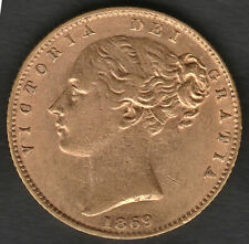 More details for   1869 london queen victoria shield back full 22ct gold sovereign coin type 1b