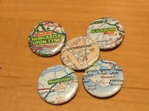 UK Town And City Map Button Badges