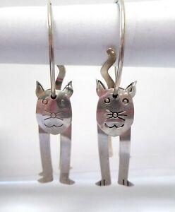 DAINTY VINTAGE STERLING SILVER 3D KITTY CAT EARRINGS DANGLE EARRINGS