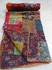 Cotton Patch Work Kantha Quilt Boho Blanket Light Weight Summer Hippie Throw