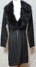 Bisou Bisou Michele Bohbot Women Size Medium Jacket Coat Denim Faux Fur Collar