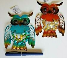 Beautiful Metal and Glass Small Owl Wall Art Plaques (2 colours)
