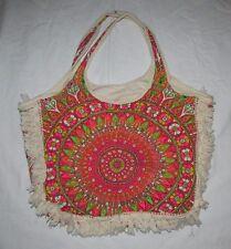 Billabong Mandala Bag w Fringe Shopper Tote Handbag Pocketbook Boho Hippie